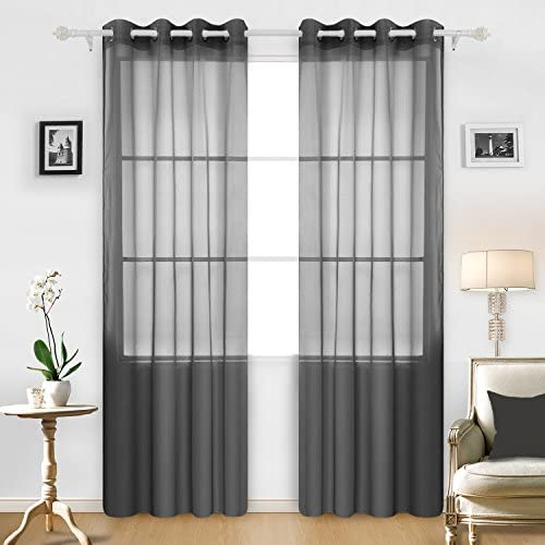 Deconovo Fashionable Grommet Curtains Soft Sheer Panels Voile Curtains Delicate Sheer Curtains for Bedroom 52W x 95L Inch Black 2 Panels