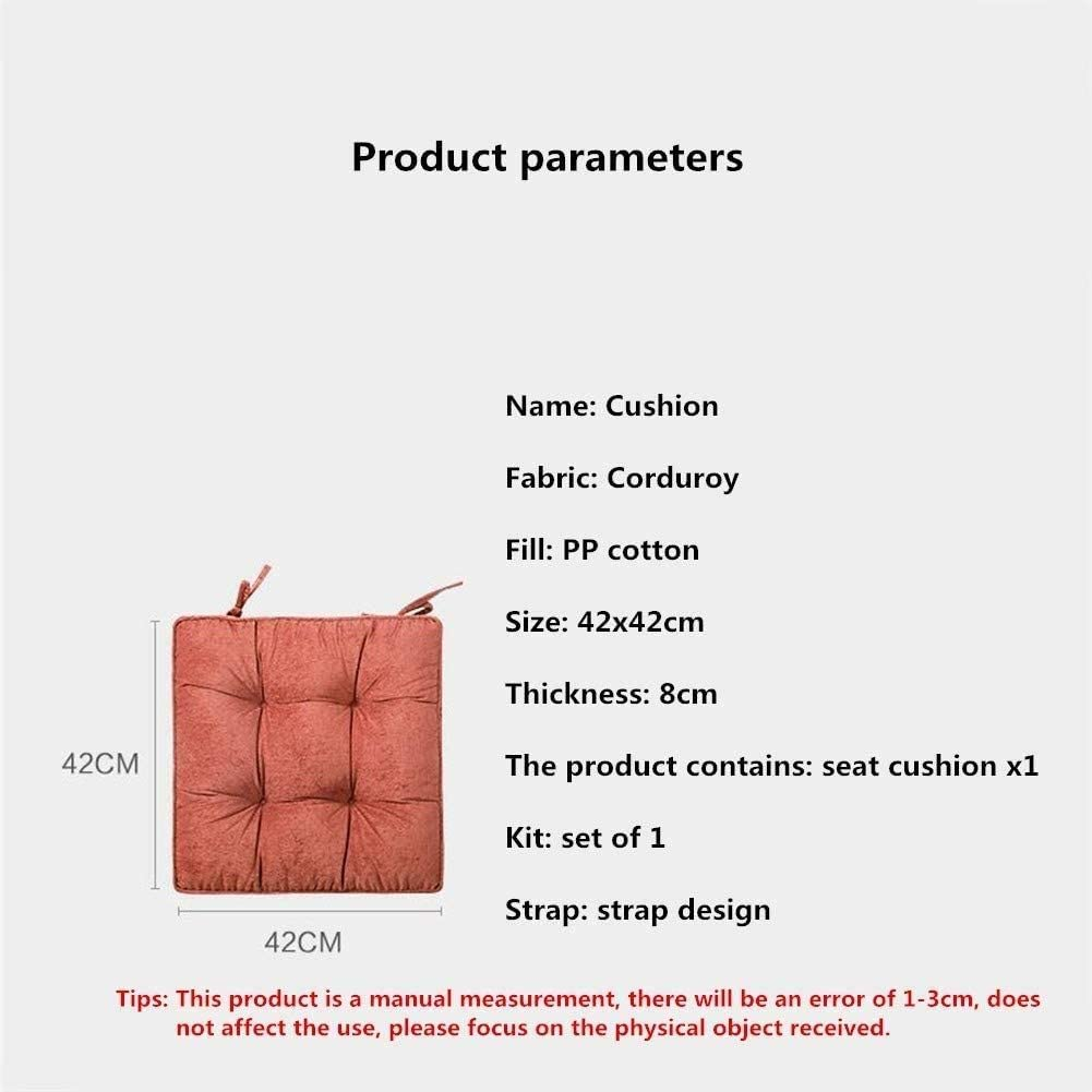 Simple Solid Color Chair Cushion Corduroy Tie Design Chair Seat Pads Breathable Fluffy Seat Cushions Comfortable Skin-Friendly for Office Bay Window Garden Tatami Etc 42x42cm