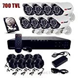 Q1C1 8-Channel H.264 DVR Complete System Kit with 4 x 480 TV lines IR Night Vision Cameras,500GB Hard Drive Pre-installed(Monitor Not Included)