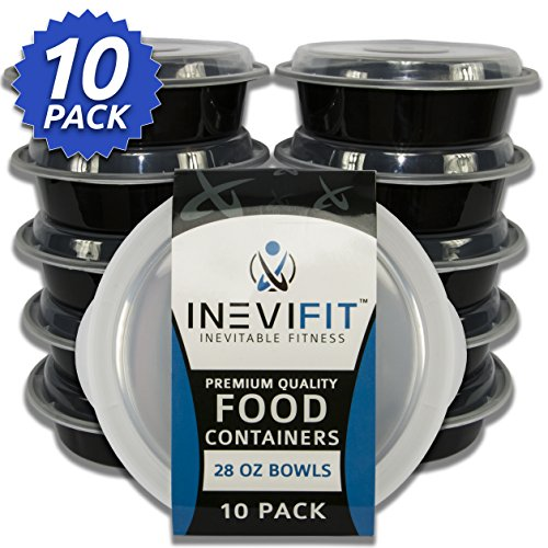 INEVIFIT Meal Prep Bowls Premium Quality Food Containers, BPA Free, Reusable, Durable 28 oz. Stackable 10 Pack Meal Prep, Microwavable & Dishwasher Safe with Leak Resistant Technology