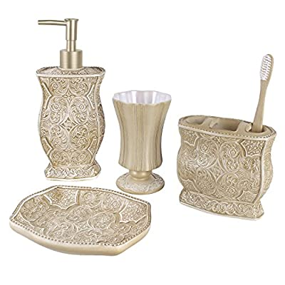 "Creative Scents Victoria Bath Ensemble, 4 Piece Bathroom Accessories Set, Victoria Collection Bath Gift Set Features… - 4-PIECE BATHROOM ACCESSORY SET: includes everything you need for personal grooming in the bathroom. Includes 7.75"" x 4.25""x 4.25"" lotion/soap dispenser fitted with a high quality pump, a 4.25"" x 4"" x 2.25"" toothbrush holder that can also hold toothpaste, 4.5"" x 3"" x 3"" tumbler and a 1"" x 5.75"" x 3.75"" Soap dish. LUXURIOUS AND FUNCTIONAL: pamper yourself with the Italian inspired bathroom accessory set that non-slip grip brings Victorian elegance right into your daily routine. Each piece is designed for perfect function with extra lavishness and style. TEXTURED FINISHING; the scroll pattern and swirling floral motifs provides a finish with a textured feel that not only looks classy; but also makes for non-slip grip. Handling your bath accessories is much more comfortable even with slippery or wet hands. - bathroom-accessory-sets, bathroom-accessories, bathroom - 51bkvmgMs1L. SS400  -"