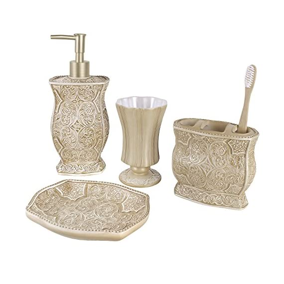 "Creative Scents Victoria Bath Ensemble, 4 Piece Bathroom Accessories Set, Victoria Collection Bath Gift Set Features Soap Dispenser, Toothbrush Holder, Tumbler, Soap Dish - 4-PIECE BATHROOM ACCESSORY SET: includes everything you need for personal grooming in the bathroom. Includes 7.75"" x 4.25""x 4.25"" lotion/soap dispenser fitted with a high quality pump, a 4.25"" x 4"" x 2.25"" toothbrush holder that can also hold toothpaste, 4.5"" x 3"" x 3"" tumbler and a 1"" x 5.75"" x 3.75"" Soap dish. LUXURIOUS AND FUNCTIONAL: pamper yourself with the Italian inspired bathroom accessory set that non-slip grip brings Victorian elegance right into your daily routine. Each piece is designed for perfect function with extra lavishness and style. TEXTURED FINISHING; the scroll pattern and swirling floral motifs provides a finish with a textured feel that not only looks classy; but also makes for non-slip grip. Handling your bath accessories is much more comfortable even with slippery or wet hands. - bathroom-accessory-sets, bathroom-accessories, bathroom - 51bkvmgMs1L. SS570  -"