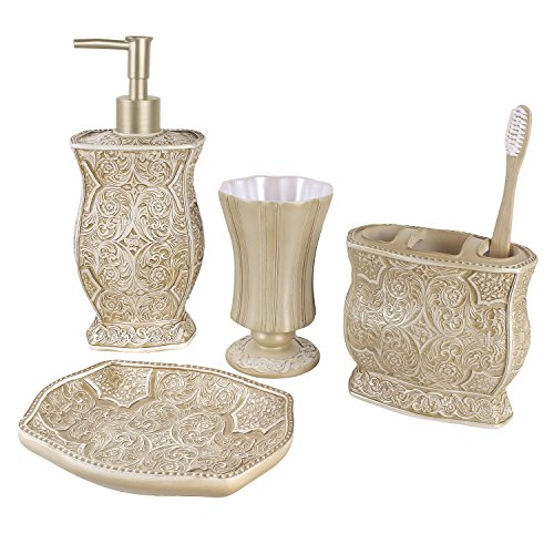 51bkvmgMs1L - Victoria Bath Ensemble, 4 Piece Bathroom Accessories Set, Victoria Collection Bath Gift Set Features Soap Dispenser, Toothbrush Holder, Tumbler, & Soap Dish