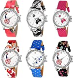Drealex Analogue Multi-Colour Dial Girl's and Women's Watch - 8066 (Combo Pack of 6)