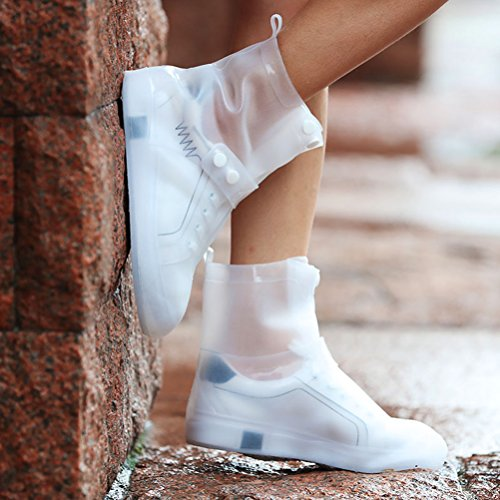 USHTH Waterproof Rain Boot Shoe Cover The Reusable Slip-Resistant Overshoes with Excellent Elasticity and Foldable (White-L) by USHTH (Image #1)