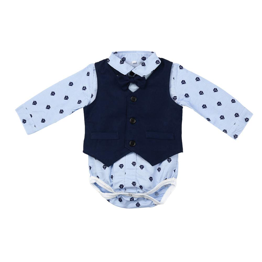 feiXIANG Conjunto de Ropa para niños bebé niño bebé Pajarita Caballero Abrigo Mono + Chaleco + Pantalones Ropa Traje Elegante Adecuado para Bautizo: ...