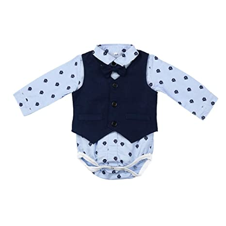 feiXIANG Conjunto de Ropa para niños bebé niño bebé Pajarita Caballero Abrigo Mono + Chaleco +