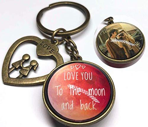 Custom Photo Keychain Double Sided with Heart charm