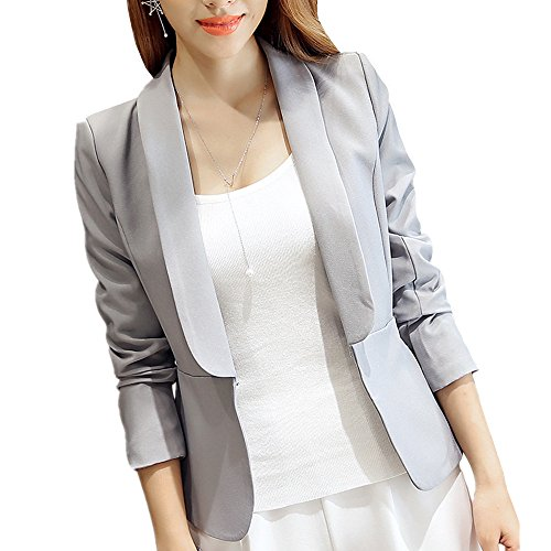 MIKTY Solid Color Blazer Lapel Design Casual Work Office Jacket for Women and Juniors Gray XXL (Tweed Fitted Blazer)
