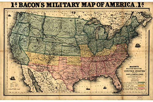 Military Map of America - Historical Reproduction - Civil War Forts and Fortifications - Published by Bacon in 1862 - Made to Order - 16