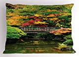Lunarable Japanese Pillow Sham, Authentic Japanese Garden with Wood Old Bridge on River Creek Vibrant Eastern, Decorative Standard Size Printed Pillowcase, 26 X 20 inches, Green Coral