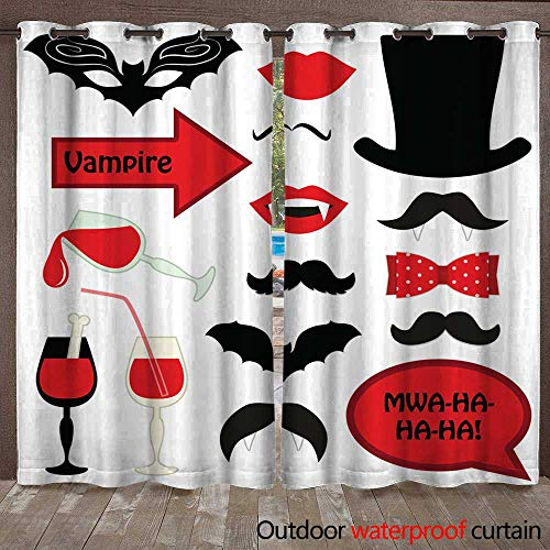 RenteriaDecor Outdoor Balcony Privacy Curtain Cute Set of Halloween Vampire Photo Booth Props W96 x L108 ()