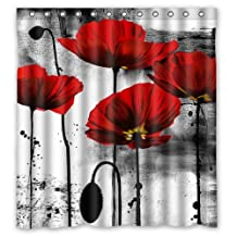 "Creative Home Ideas Beautiful Vintage Red Poppy Flower Ink Painting Art Fabric Shower Curtain with Hook 66"" x 72"""