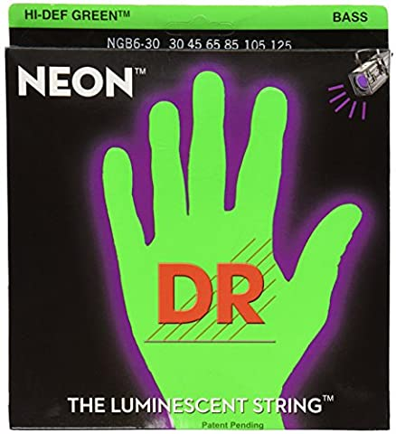 DR Strings NGB6-30 Coated Nickel Bass Guitar Strings, Medium (Dr Bass Guitar Strings For 6)