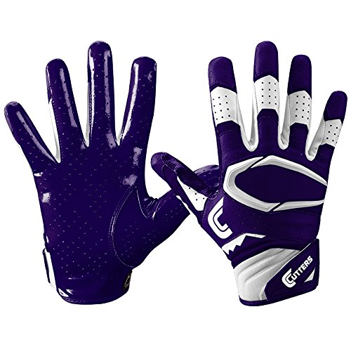 Cutters Gloves S451 Rev Pro 2.0 Receiver Safety Cornerback Gloves With C-Tack Grip, PURPLE, Adult XXXL (Cutter Grip)
