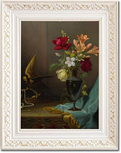 Ori Gallery Framed Canvas Print - Vase of Mixed Flowers with a Dove - by Martin Johnson Heade ()