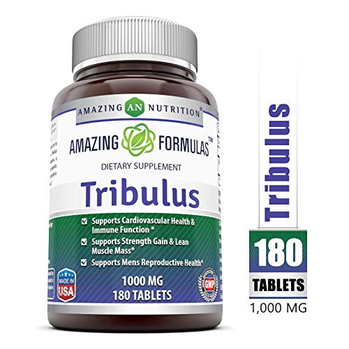 Amazing Formulas Tribulus Dietary Supplement - 1000MG - 180 Tablet per Bottle - Standardized to Contain Min. 45% Saponins - Supports Lean Muscle Mass, Promotes Cardiovascular Health,