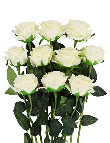 - Luyue Artificial Silk Rose Flower Bouquet Wedding Party Home Decor, Pack of 10(Style 1-Off White)