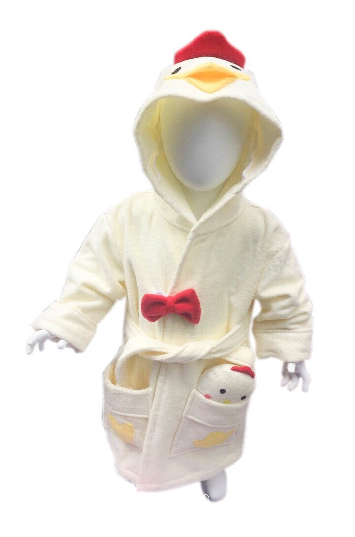 Minerva Baby&Kids Chicken Bathrobe & Plush Toy Gift Set For 2~8 Years Old 100% Virgin Cotton (S)