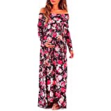 Womens Dress,FUNIC Cowl Neck Pregnants Sexy Off Shoulder Long Sleeve Floral Printing Dress Maternity Nursing Dress (M, Red)