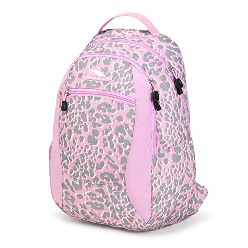 High Sierra Curve Lightweight Backpack with Padded Straps - Ideal for Students (Shadow Leopard/Iced Lilac)