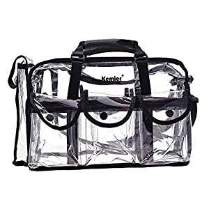 Kemier Clear Travel Makeup Bag with 6 External Pockets,Cosmetic Organizer Case with Shoulder Strap,Large