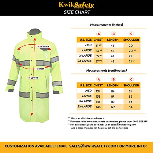 KwikSafety (Charlotte, NC) TORRENT Class 3 Safety Trench Coat | High Visibility Waterproof Windproof Safety Rain Jacket | Hi Vis Reflective ANSI Work Wear | Rain Gear Hideaway Hood Carry Bag | Large by KwikSafety (Image #7)