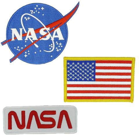 (Nasa Blue Logo USA Flag Nasa White-Red Vector Space Shuttle Jacket DIY Embroidered Halloween Costume Badge Set of 3 Easy Iron/Sew On Patch)