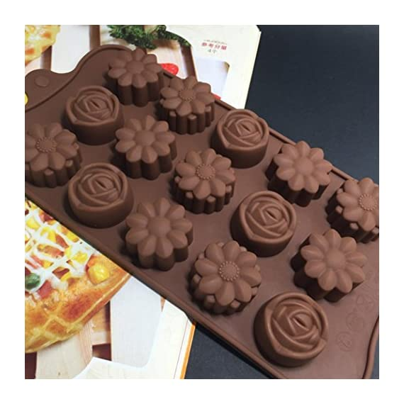 Gessppo 15-Cavity Silicone Cake Mold Flower Rose Chocolate Soap Mold Ice Tray Mold Baking Tools Resistant High Temperature Easy to Operate and Clean 3 ❤❤️Material:silicone-----Color:coffee-----Size:approx. 22 x 10.5 x 1.5cm; Diameter of each flower: approx. 2.9cm ❤❤️12 Cup Silicone Muffin - Cupcake Baking Pan / Non - Stick Silicone Mold / Dishwasher - Microwave Safe; 2Packs Silicone Mini Muffin Pan, Silicone Molds for Muffin Tins, Cupcake Baking Pan (Red);Ware Platinum Collection Heritage Bundt Pan ❤️❤️Reusable Silicone Baking Cups, Pack of 12; Silicone Cake Mold Magic Bake Snake-DIY Baking Mould Tool Design Your Pastry Dessert with Any Pan Shape, 4 PCS/lot Nonstick Flexible Reusable Easy to Use and Wash, Perfect Gift Idea for Your Love