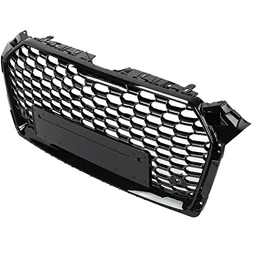 Akozon Hex Mesh Honeycomb Grill ABS Front Bumper Grill Replacement for A5/S5 B9 17-18