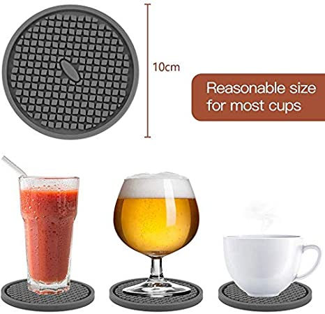 Protect Furniture from Water Marks /& Damage JYKJ Silicone Drink Coasters Set of 6 in Holder Black Coaster with Deep Grooved and Non-Slip Bottom for Coffee Beer Mug Wine Glass