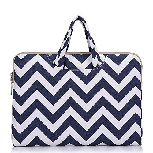 Funny live 13-13.3 Inch Wavy Lines Canvas Portable Laptop Sleeve Carrying Case Bag for MacBook Pro 13.3-inch Retina/MacBook Air 13''/13.3-inch ASUS Dell HP Chromebook Noteb (blue) by Funny live
