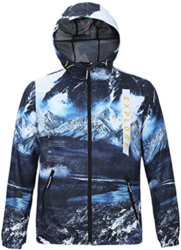PIZOFF Unisex Hipster Long Sleeve Adjustable Waist Colorful Mountain Screen Print Zip Up Pockets Outdoor Hiking Navy Windbreaker Jackets Hooded