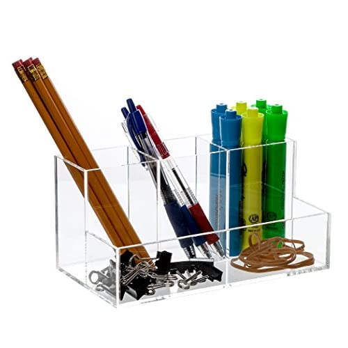 "Nice Bennett Super Quality ""Caddy"" Acrylic Desk, Office Accessories Divider / Makeup Brushes Organizer / Cosmetic Storage / Cell Phone, Pen And Pencil Etc. holder, for cheap"