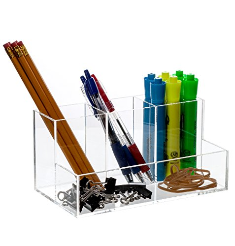 Bennett Super Quality Caddy Acrylic Desk, Office Accessories Divider / Makeup Brushes Organizer / Cosmetic Storage / Cell Phone, Pen And Pencil Etc. holder,