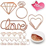 Cute Paper Clips - Funny Bookmark Marking Clips for Office School Wedding Party Invitation Valentine Decoration - Love Heart Diamond Ring Shape Assorted Small Paperclips - Planner Paperclips