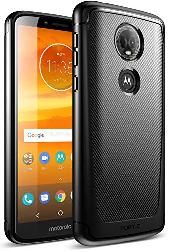 Moto E5 Plus Case, Moto E5 Supra Case, Poetic Karbon Shield [Shock Absorbing] Slim Fit TPU Case with [Carbon Fiber Texture] for Motorola Moto E5 Plus Black