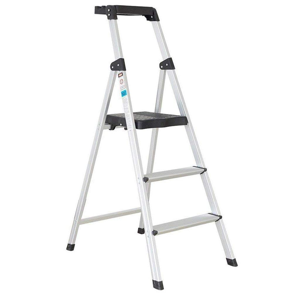 Livebest 3 Step Ladder Folding 3 Feet Step Stool Anti-Slip Step Heavy Duty 330 lbs Capacity Safety Handrails and Wide Platform Light Weight Aluminum,Sliver