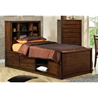Hillary and Scottsdale Full Bookcase Bed with Underbed Storage (Deep Walnut)