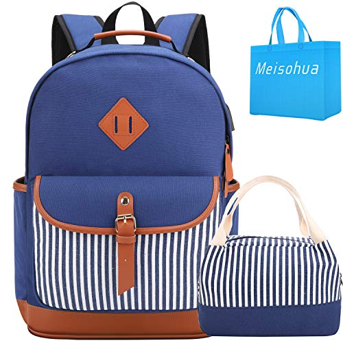 Meisohua School Backpack with Lunch Bag, Bookbags Set for Teen Girls high School...