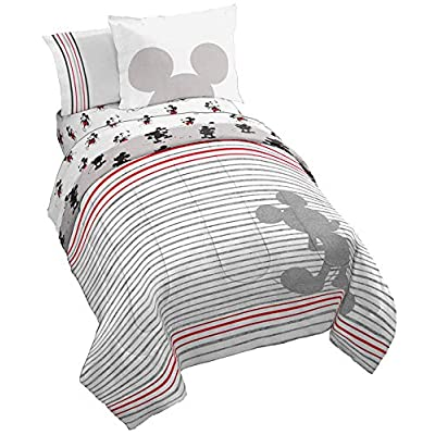 Jay Franco Disney Mickey Mouse 90th Stripe Bed Set, Twin: Home & Kitchen