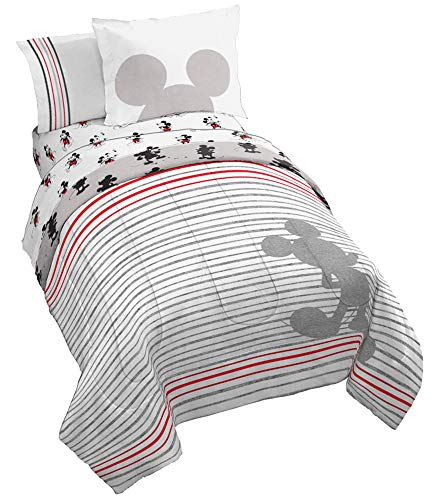 (Jay Franco Disney Mickey Mouse 90th Stripe Queen Bed Set, White)