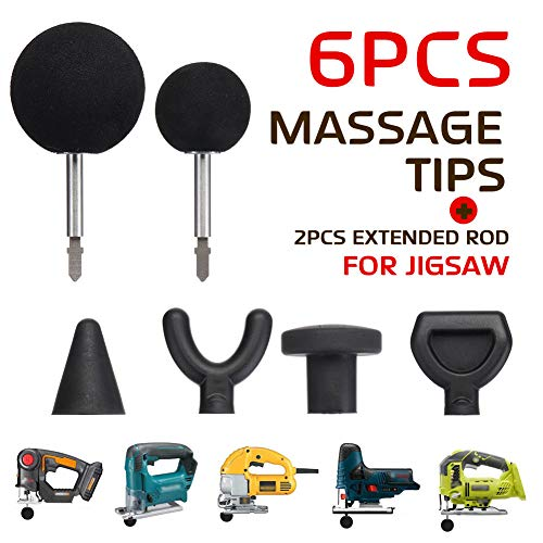 - 6pcs Massager Adapter Attachment,Jigsaw Massage Ball Tool Percussion Massager Tip Attachment Adaptor Body Percussion Massage with 2Pcs Extended Rod for Neck,Back,Muscle,Shoulder,Full body(6pcs)