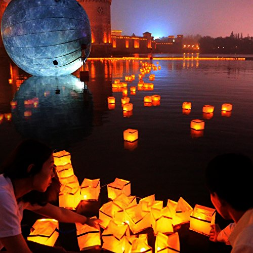 Homecube Outdoor Water Floating Candle Lanterns Biodegradable White Chinese Paper Lanterns for Wishing, Praying, Floating 10 Pack 5.9 (Floating Paper Lanterns)
