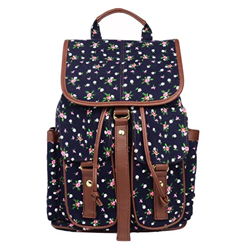 Imiflow Casual Backpacks Print Canvas Leather Daypacks Travel College Rucksack Backpack Purse for Girls Women (Dark Blue)