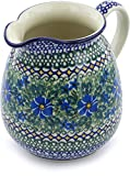 Polish Pottery 6 Cup Pitcher made by Ceramika Artystyczna (Wild Diamonds Theme) Signature UNIKAT + Certificate of Authenticity