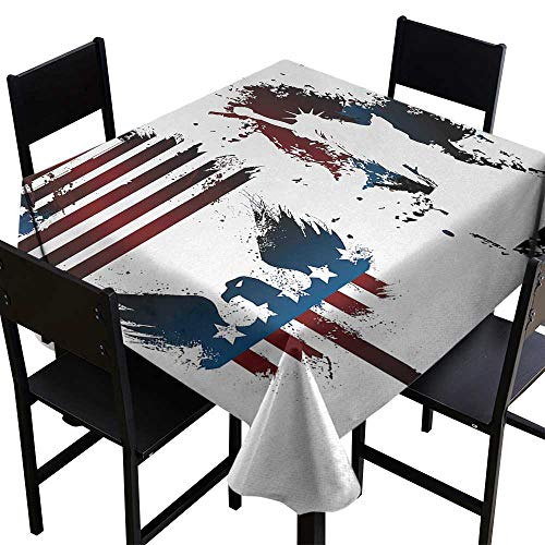 Warm Family American Flag Washable Table Cloth Set with Bald Eagle Symbol and Stripes Stars Statue of Liberty Grunge Retro Indoor Outdoor Camping Picnic W54 x L54