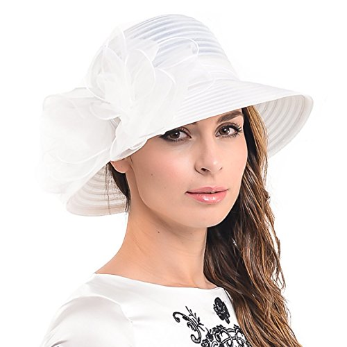 Ascot Kentucky Derby Bowler Church Cloche Hat Bowknot Organza Bridal Dress Cap S051 (White) -