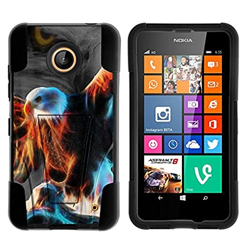 Nokia Lumia 635 Case, Nokia Lumia 630 Case, Durable Hybrid STRIKE Impact Kickstand Case with Art Pattern Designs for Nokia Lumia 635, 630 (AT&T, Sprint, T Mobile, Cricket, Virgin Mobile, Boost Mobile, MetroPCS) from MINITURTLE | Includes Clear Screen Protector and Stylus Pen - Blazing (Nokia Lumia 635 Cases For Guys)