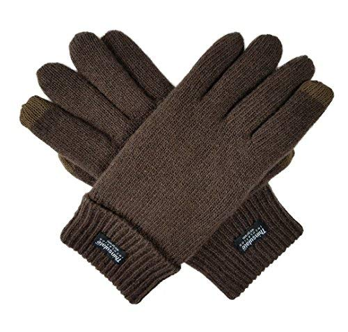 (Bruceriver Men's Pure Wool Knitted Touchscreen Gloves with Thinsulate Lining Size L/XL (Brown)